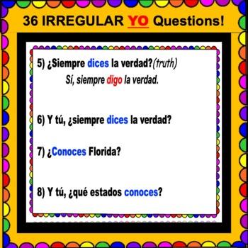 IRREGULAR YO Verbs - Present Tense Questions for SPANISH Class ¡Olé!