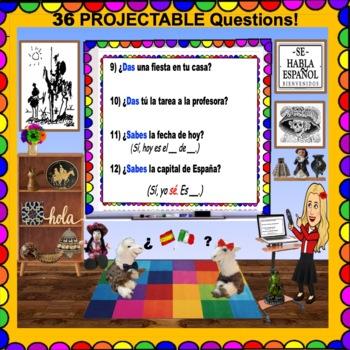 IRREGULAR YO Verbs - Present Tense Questions for SPANISH Class- Just Project!
