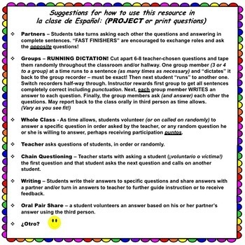 SER and ESTAR Present Tense Verb Questions for SPANISH Class! Just Project!