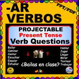 REGULAR VERBS -AR Present Tense Verb Questions for SPANISH Class - ¡Olé!