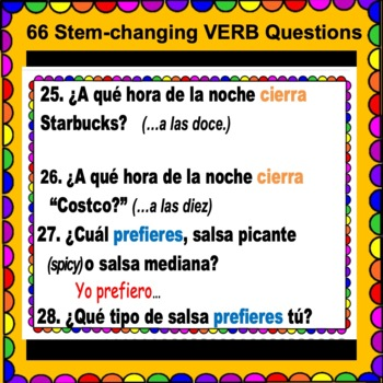 "STEM-CHANGING Verbs in SPANISH - Questions with Present Tense ""BOOT"" Verbs"