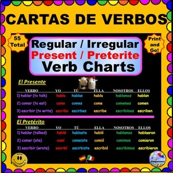 VERB CONJUGATION Charts - Present and Preterite for SPANISH Class! ¡Olé!