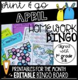 April EDITABLE Homework Bingo > Printables in multiple subjects!