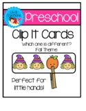 Preschool Clip It Cards - Which one is different? Fall Theme