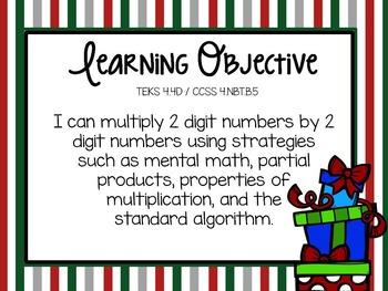 4th Grade Christmas Math Freebie: 2 digit x 2 digit