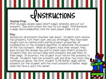 4th Grade Christmas Math Freebie: 2 digit x 2 digit