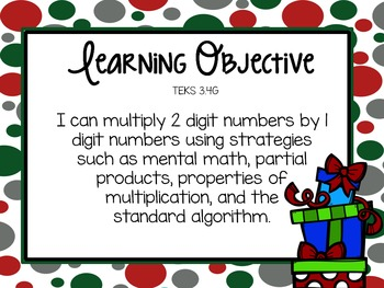 3rd Grade Christmas Math Freebie: 2 digit x 1 digit