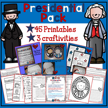 Presidents' Day & USA ✩Math, Language,and Reading {3 Craftivities,45 Printables}