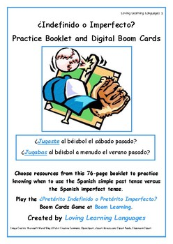 ¿Pretérito Indefinido o Pretérito Imperfecto? Practice Booklet and Boom Cards