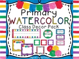 """""""Primary/Rainbow Watercolor"""" Classroom Decor Pack- (English and Spanish)"""