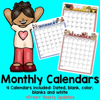 ☞ Print and Go Monthly Calendars (Blank and Dated) Free Yearly Updates!