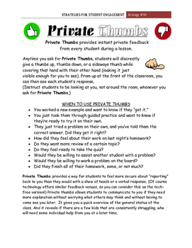 """""""Private Thumbs""""  Student Engagement Strategy #10"""