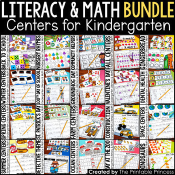 Kindergarten Centers {Math and Literacy Activities} 6 Pack Centers