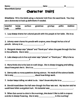 Character Traits - Fill in ... by Lisa Gerardi | Teachers Pay Teachers