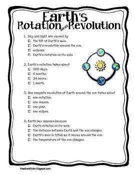 Rotation Vs Revolution Worksheet - Delibertad