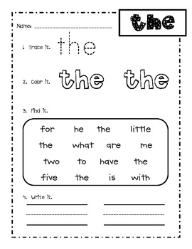 Pre K Sight Words Worksheets - carolinabeachsurfreport