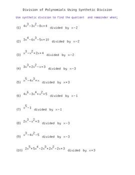 Polynomial Long Division Worksheet - Delibertad