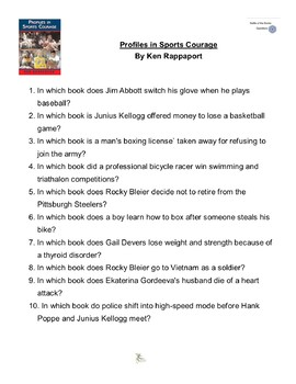 """""""Profiles in Sports Courage"""" By Ken Rappaport, Battle of the Books Questions"""