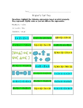 **Property Sort with Answer Key**