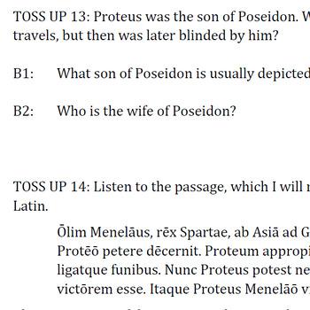 """Proteus, Senex Maris"" Reading Passage and Activities"