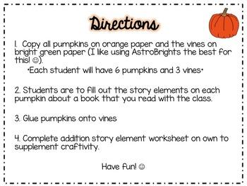 *Pumpkin Craftivity* Using Story Elements