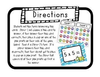"""""""Puppy Products"""" Multiplication Facts 0-10 Game Boards & Task Cards"""
