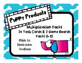"""Puppy Products"" Multiplication Facts 0-10 Game Boards & T"