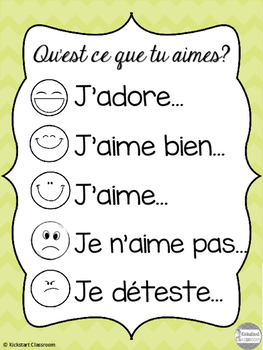 'Qu'est ce que tu aimes?' French Discussion Poster and Cards
