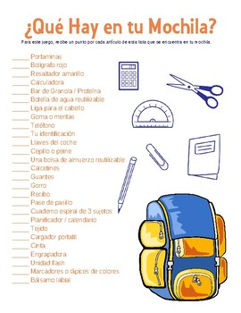 ¿Qué Hay en tu Mochila? - Spanish Table Game - What's in Your Backpack