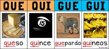 /Que/, /Qui/, /Gue/, /Gui/ Spanish Phonics Poster Strip