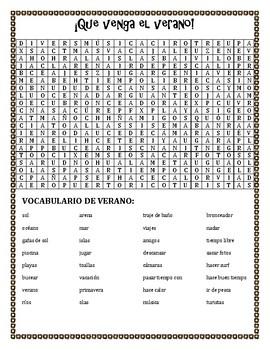 ¡Que Venga el Verano! Vocabulary Review and Word Search