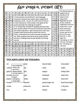 ¡Que Venga el Verano! Vocabulary Review and Word Search