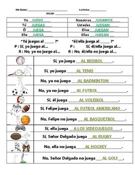 ¿Qué deportes juegas? - : Spanish Jugar + Sports