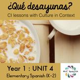 ¿Qué desayunas? Unit 4 for Elementary Spanish