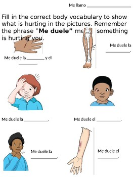 ¿Qué duele? Worksheet for Body Vocabulary