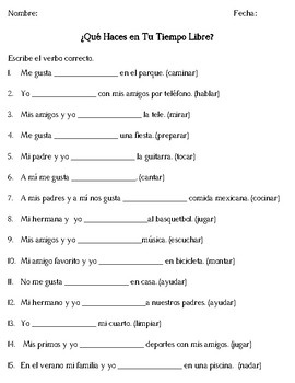 Pastimes with AR Verbs Spanish I