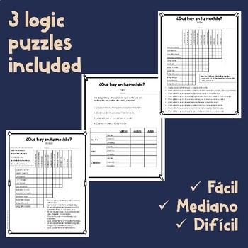 Logic Puzzle- ¿Qué hay en la mochila?