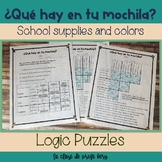 School Supplies and Colors Qué hay en tu mochila Logic Puzzles