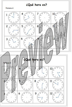 ¿Qué hora es? Fill in the time pair activity