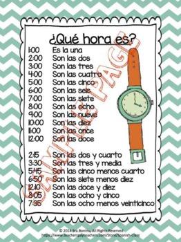 Qué hora es? ejercicio 1 | Spanish--Time | Pinterest | Spanish ...
