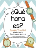 ¿Qué hora es?  Spanish Time worksheets & flashcards