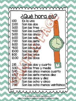 Qué hora es? Spanish Time worksheets & flashcards by Spanish Class