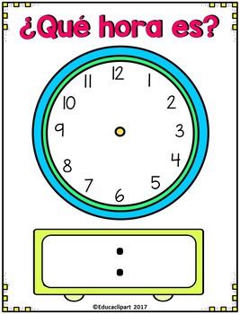 ¿Qué hora es? - Spanish telling time mat