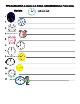 ¿Qué hora es? librito de trabajo