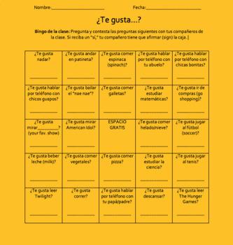 ¿Qué te gusta? Classmate Bingo