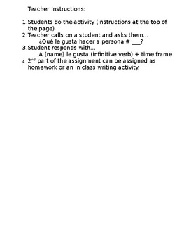 ¿Qué te gusta hacer? - Gustar y Infinitivos - Speaking/Writing Activity