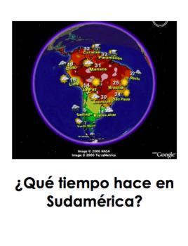 ¿Qué tiempo hace en Sudamérica?   Spanish weather and bonus clothing worksheet