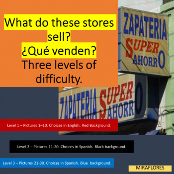 What do these stores sell? Basic vocabulary with pictures