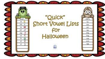 """Quick"" Short Vowel Lists for Halloween"