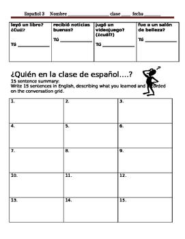 ¿Quién en la clase de español?  Conversation Activity Spring Break